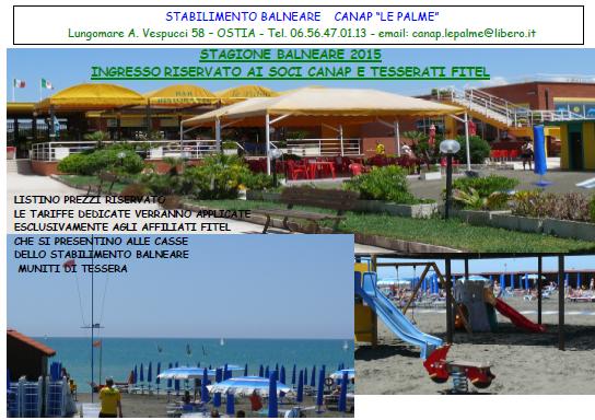 Accordo  fra Fitel Lazio e Canap per utilizzo  stabilimento balneare  estate 2015